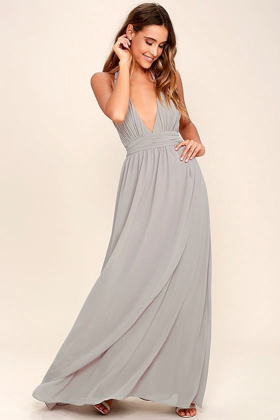 Lovely Light Grey Dress Maxi Dress Halter Dress 84 00