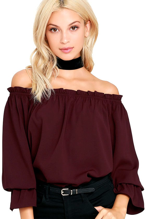 bfe73f3ea257e Chic Plum Purple Top - Off-the-Shoulder Top - Three-Quarter Sleeve Top -   42.00