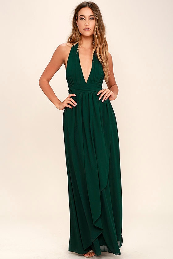 e0d886c803 Lovely Forest Green Dress - Maxi Dress - Halter Dress -  84.00