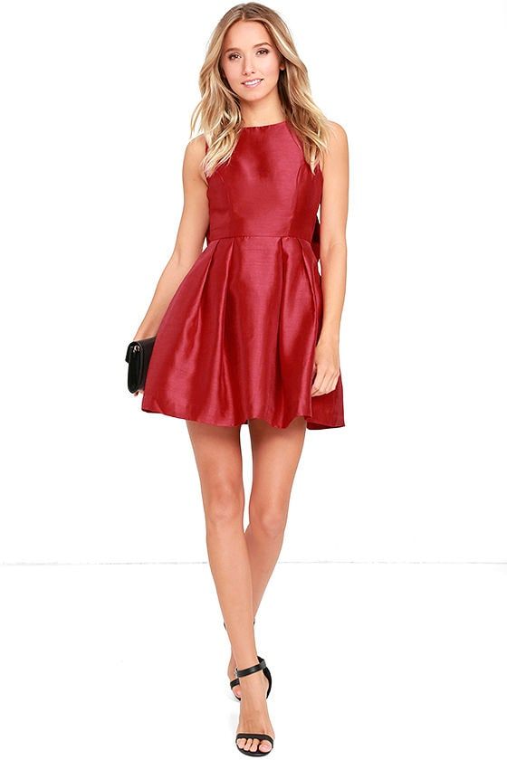 Lovely Wine Red Dress - Backless Dress - Bow Dress - $62.00