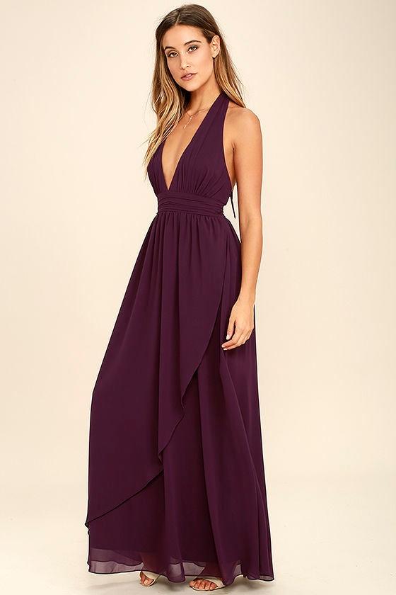 Lovely Purple Dress - Maxi Dress - Halter Dress - $84.00