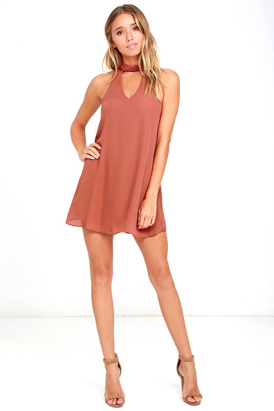 Cute Rusty Rose Dress - Swing Dress - Cutout Dress - $49.00