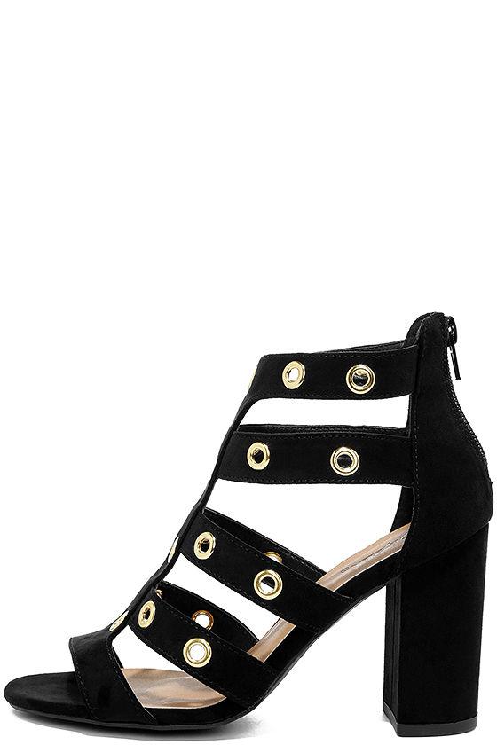 3a27d58fc379 Black Vegan Suede Heels - Caged Heels - Grommet Heels - High Heel Sandals -   32.00