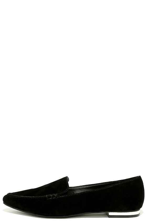 7d4f6ceb3b4 Steve Madden Fausto - Black Suede Loafers - Slide-On Flats -  79.00