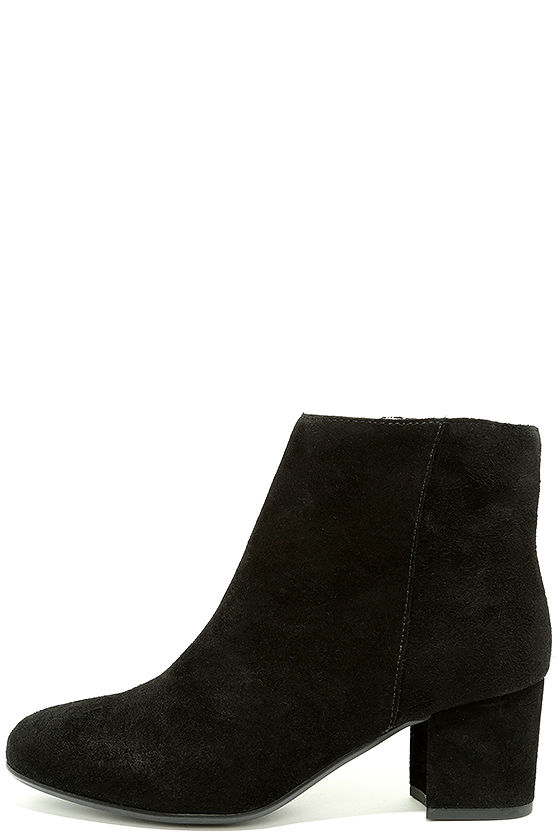9c550b66061 Steve Madden Holster Black Suede Leather Ankle Booties