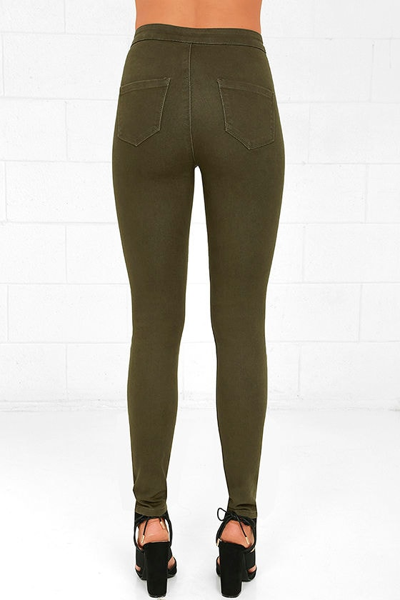 Cool Olive Green Jeans - High-Waisted Jeans - Skinny Jeans - $39.00