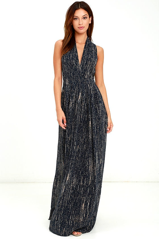 b0b2f727f37b Beautiful Navy Blue Print Dress - Maxi Dress - Sleeveless Maxi - $96.00
