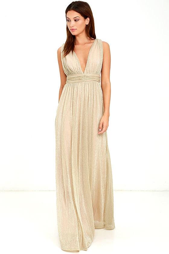 Stunning Gold Dress Maxi Dress Metallic Dress