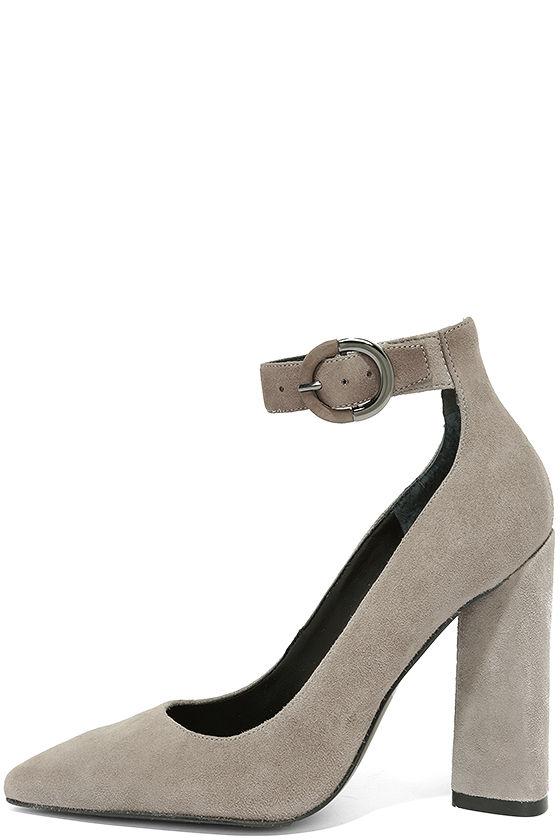 Kendall + Kylie Gloria Light Grey Suede Leather Heels 2