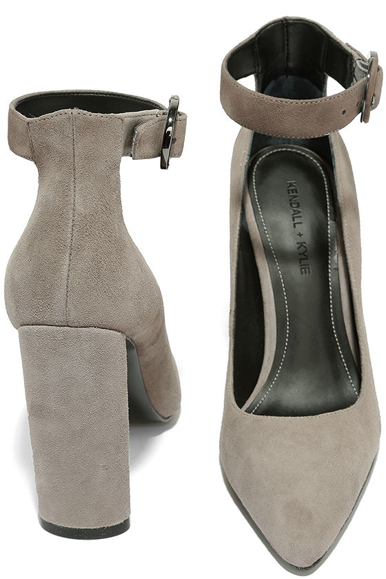 Kendall + Kylie Gloria Light Grey Suede Leather Heels 3