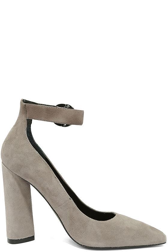 Kendall + Kylie Gloria Light Grey Suede Leather Heels 4