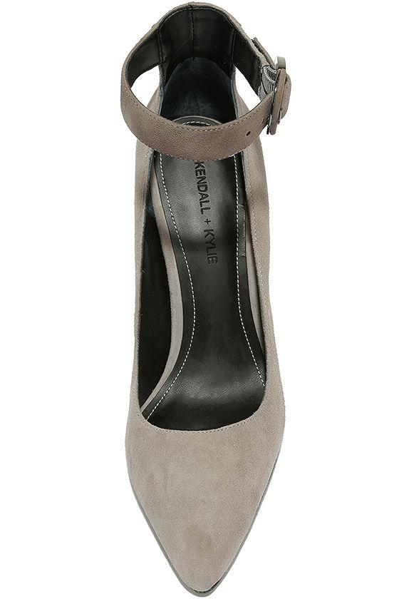 Kendall + Kylie Gloria Light Grey Suede Leather Heels 5