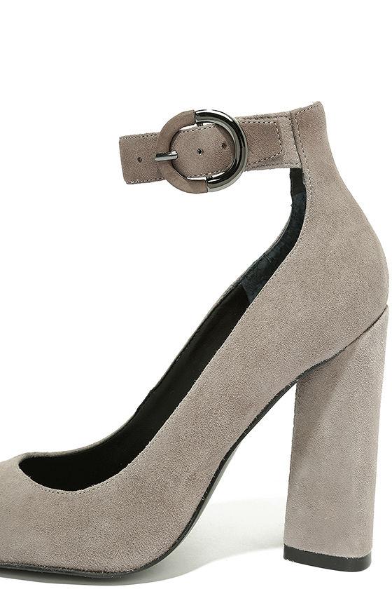 Kendall + Kylie Gloria Light Grey Suede Leather Heels 7