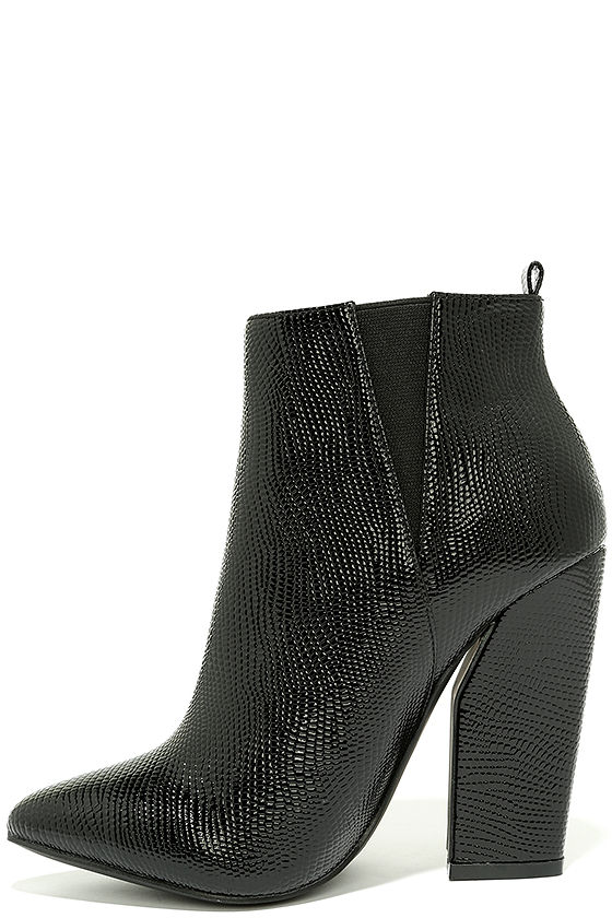 44afd14ceb6 Cool Black High Heel Booties - Crocodile Booties - Patent Booties -  43.00