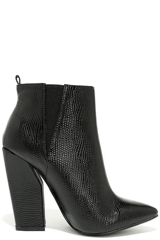 Way Wild Black Croc High Heel Ankle Booties 4