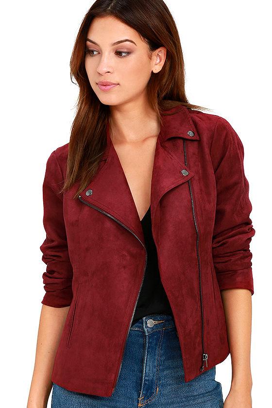 1700c9806a Olive & Oak - Faux Suede Jacket - Wine Red Jacket - Moto Jacket - $118.00