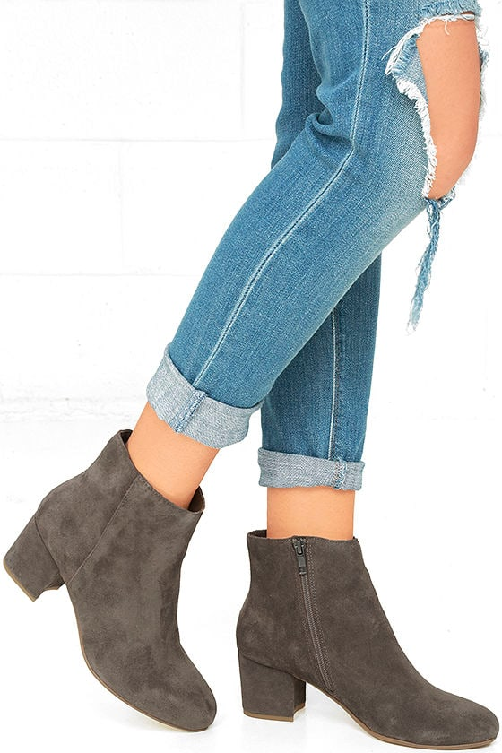0a136b939dc Steve Madden Holster - Grey Ankle Booties - Genuine Suede Booties ...