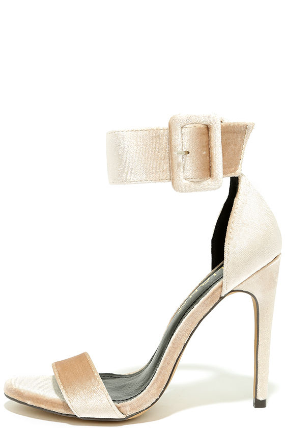 Love and Luck Nude Velvet Ankle Strap Heels 2