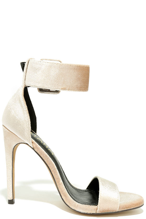 Love and Luck Nude Velvet Ankle Strap Heels 4