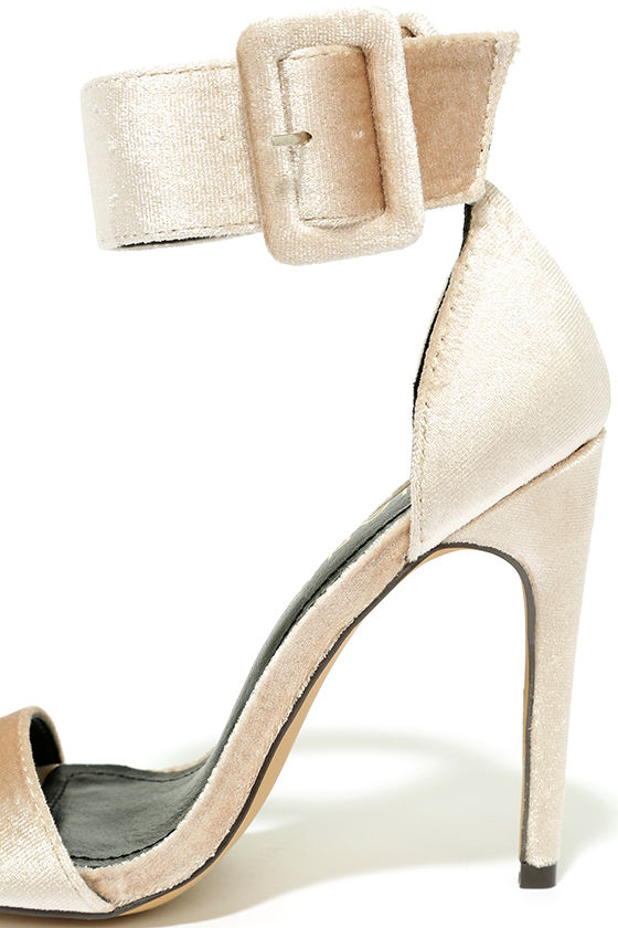 Love and Luck Nude Velvet Ankle Strap Heels 7