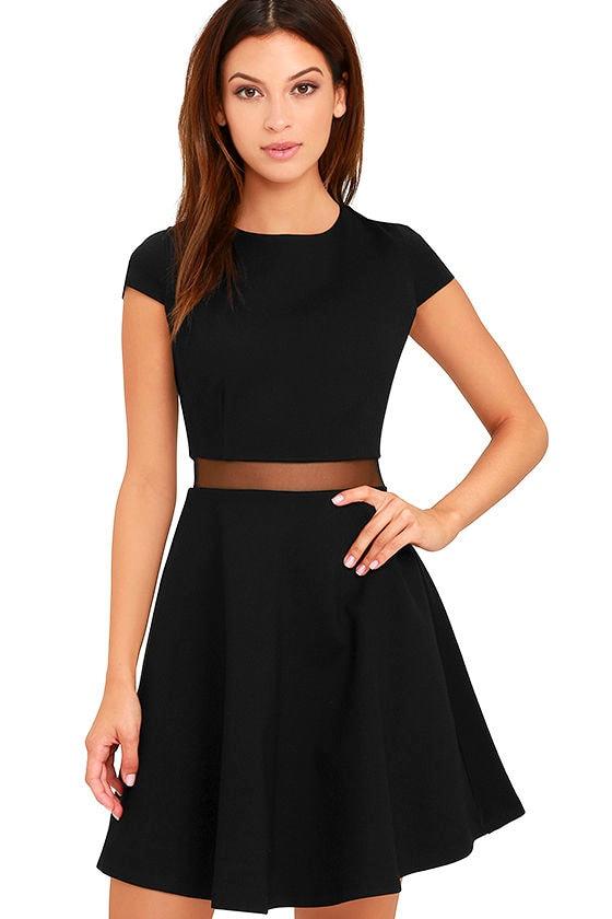 Sexy Black Dress - Skater Dress - Mesh Dress - $54.00