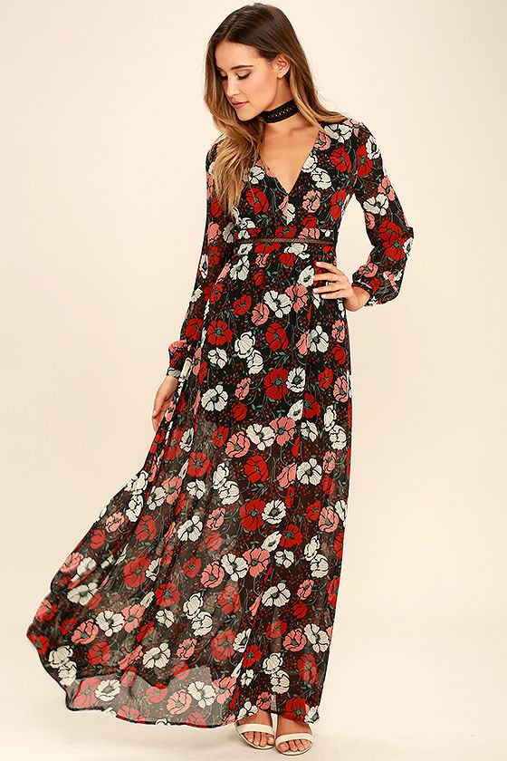 Black and Red Floral Print Dress - Maxi Dress - Long Sleeve Dress ...
