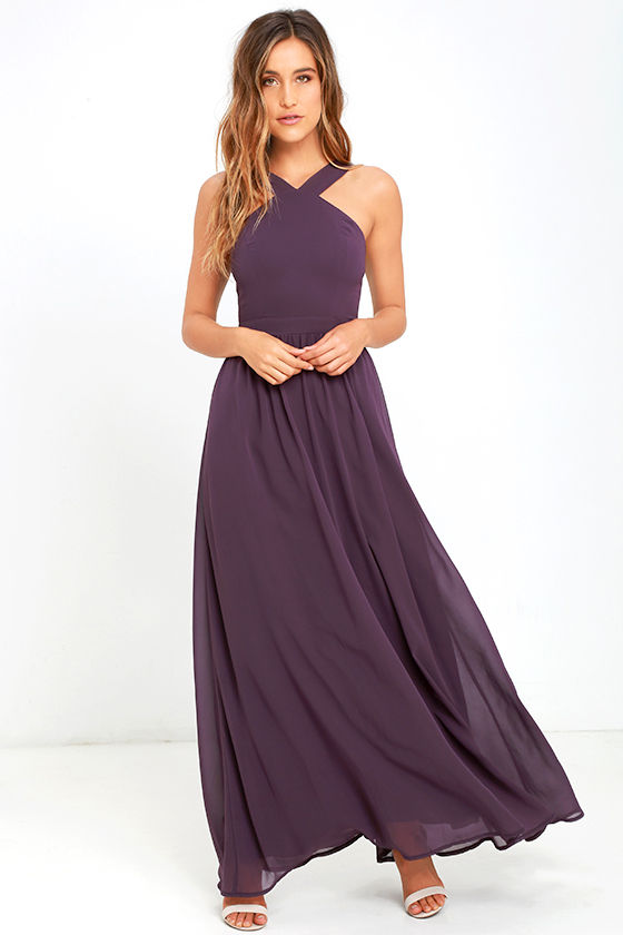 Beautiful dusty purple dress maxi dress halter dress for Purple maxi dresses for weddings