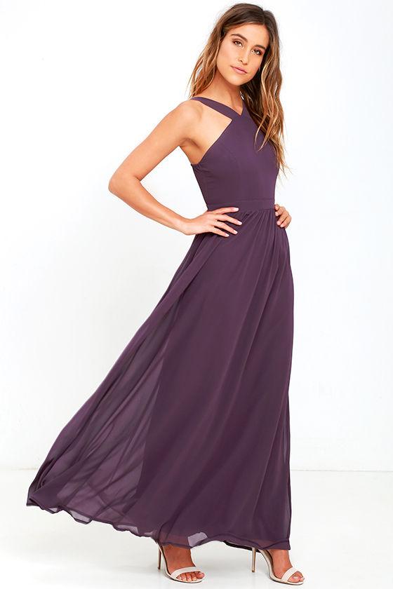 Plum maxi bridesmaid dresses