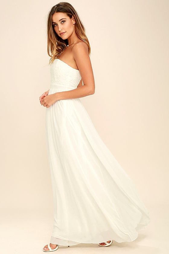 544d45b0b2 Lovely Ivory Maxi Dress - Embroidered Maxi Dress - Strapless Maxi ...