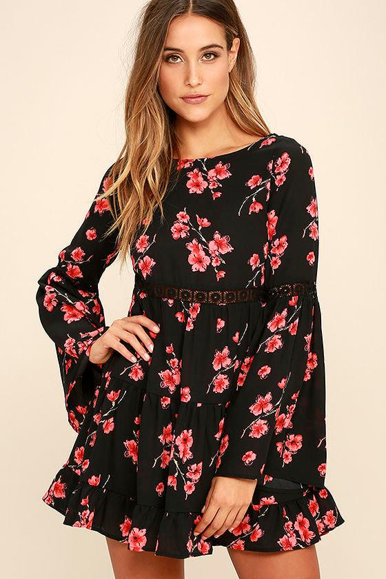 Lovely Black Floral Print Dress Long Sleeve Dress Bell Sleeve