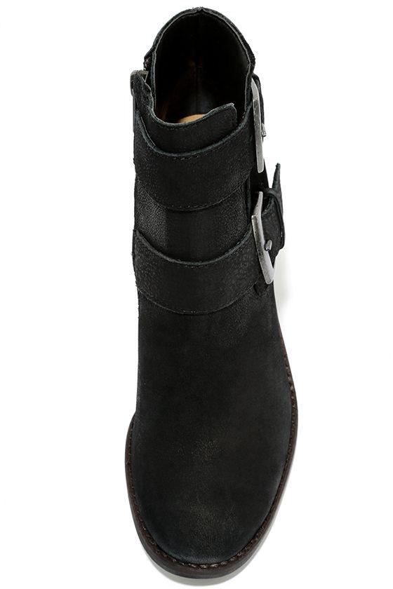 Steve Madden Trevur Black Leather High Heel Booties 5