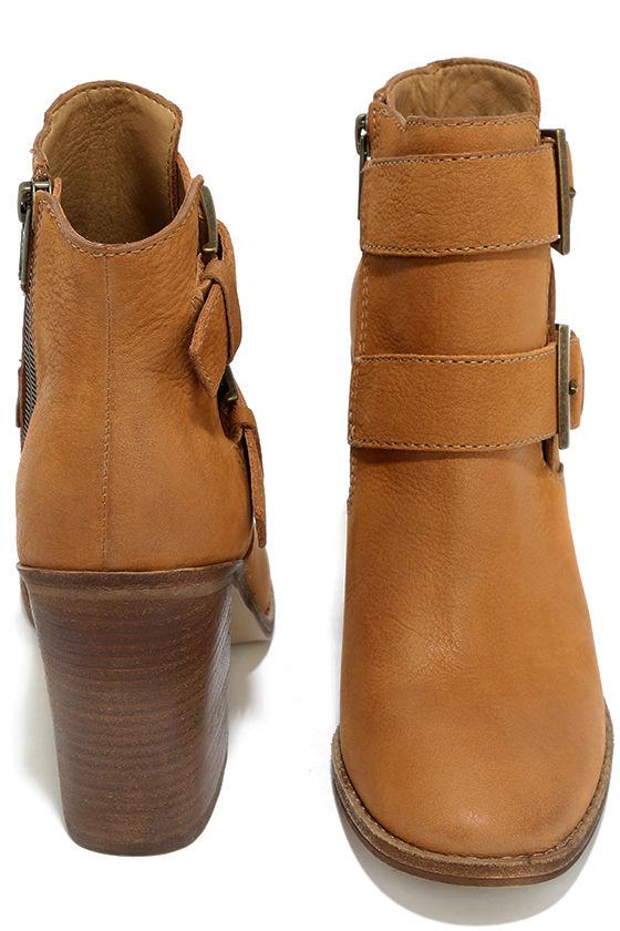 Steve Madden Trevur Cognac Leather High Heel Booties 3