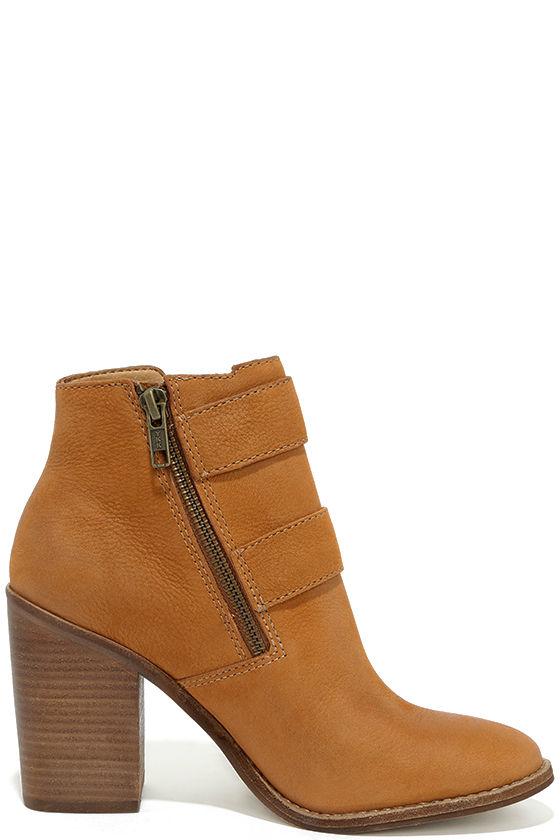 Steve Madden Trevur Cognac Leather High Heel Booties 4
