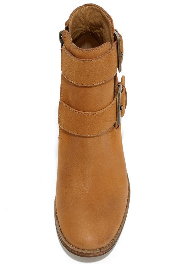 Steve Madden Trevur Cognac Leather High Heel Booties 5
