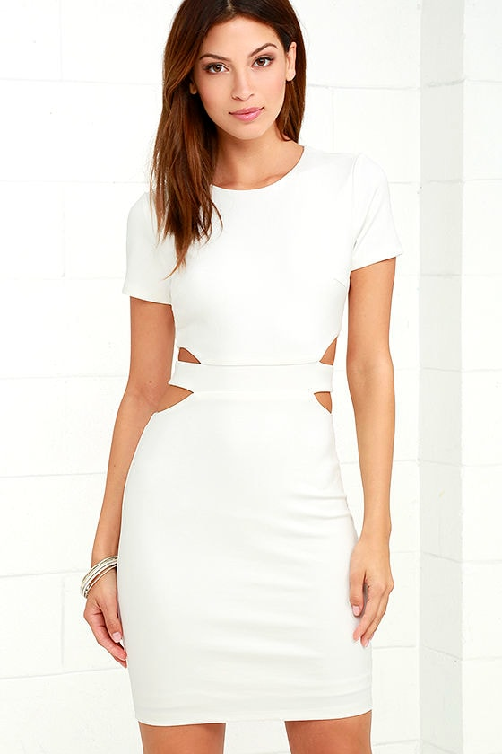 Sexy White Dress - Bodycon Dress - LWD - Cutout Dress - $56.00