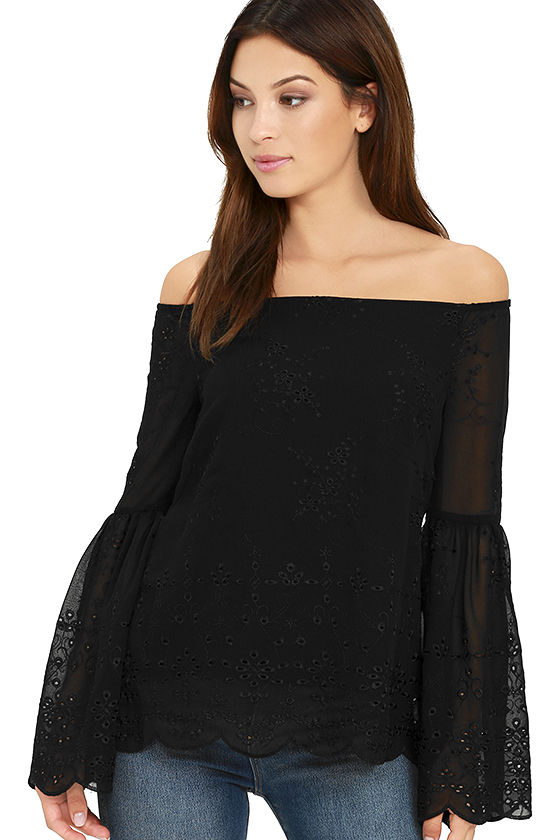 45e576a1b824ab Cute Black Lace Top - Off-the-Shoulder Top - Eyelet Top - $56.00