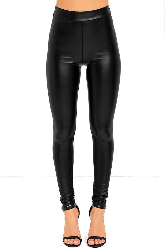 869b6261f89c Vegan Leather Leggings - Black Leggings - Vegan Leather Pants