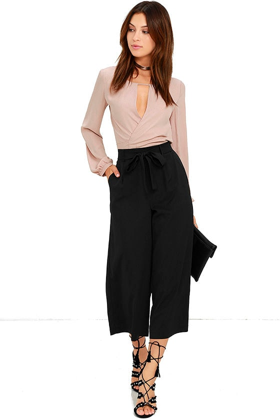 a24833a4ed08 Stylish Culottes - Black Culottes - Gauchos - Cropped Pants -  45.00