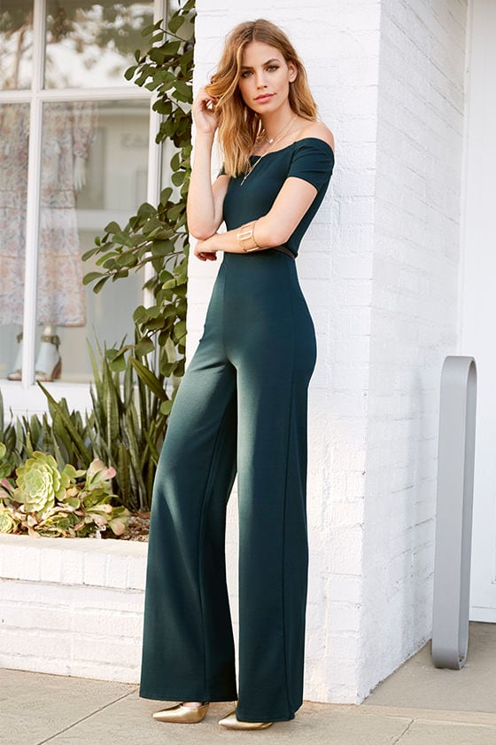 eb6e9a2512 Sexy Dark Green Off-the-Shoulder Jumpsuit -Wide-Leg Jumpsuit