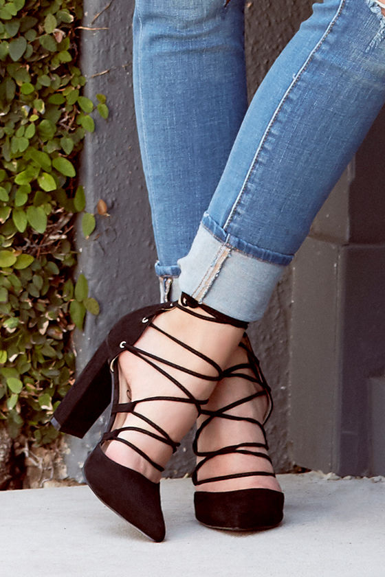 Your Girl Black Suede Lace-Up Heels 2