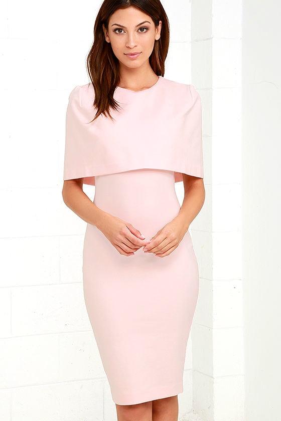 Elliatt Elevate Dress - Light Pink Dress - Midi Dress - Cape Dress ...