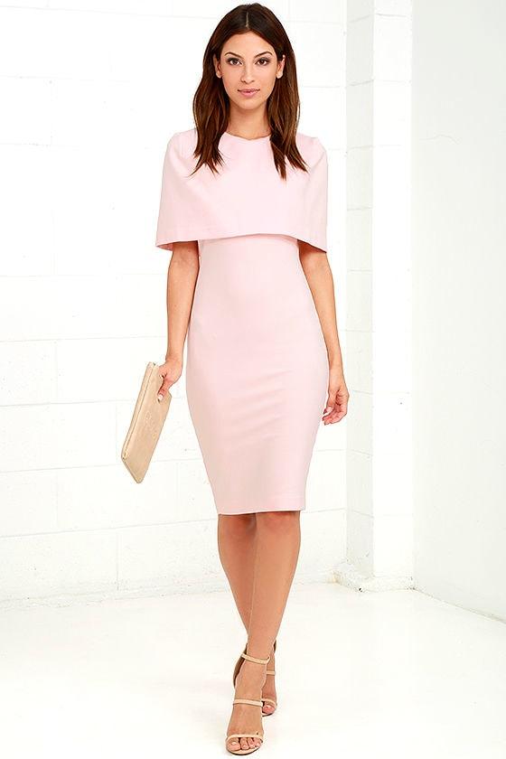7a2a35b28a05 Elliatt Elevate Dress - Light Pink Dress - Midi Dress - Cape Dress ...