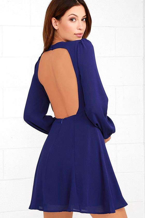 - Cute Royal Blue Dress - Long Sleeve Dress - Backless Dress - $59.00