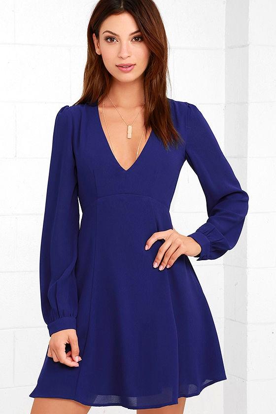 Cute Royal Blue Dress - Long Sleeve Dress - Backless Dress - $59.00