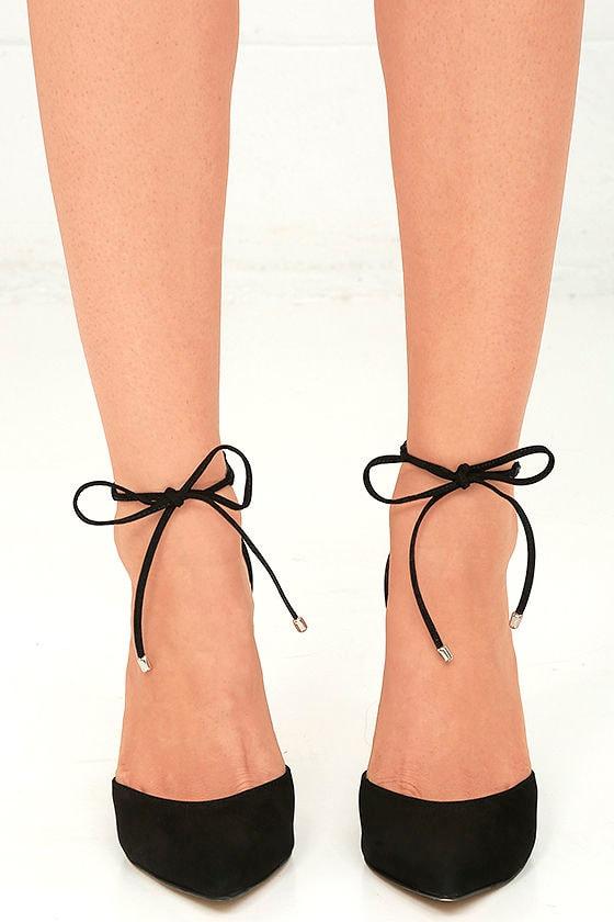 8a27a66077c Steve Madden Pamperd Heels - Black Nubuck Leather Pumps - Block Heel ...
