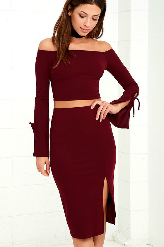 Sexy Two Piece Dress Burgundy Dress Long Sleeve Dress