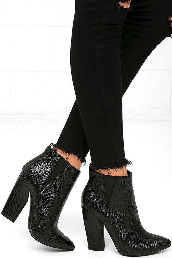 Way Wild Black Croc High Heel Ankle Booties 2