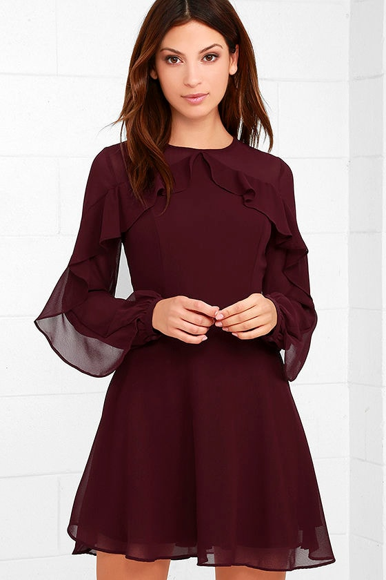 Lovely Burgundy Dress - Long Sleeve Dress - Skater Dress - $62.00