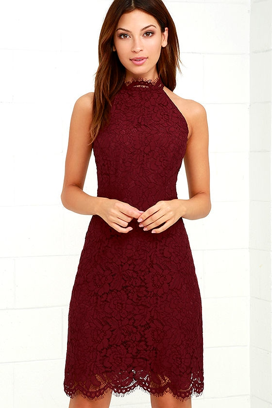 121d58c8 BB Dakota Cara Dress - Burgundy Dress - Lace Dress - $91.00