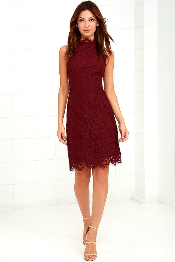 BB Dakota Cara Burgundy Lace Dress 2